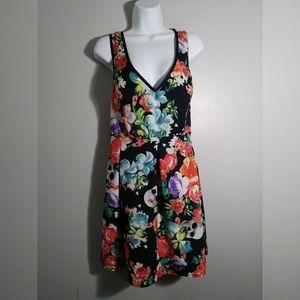 EUC Just Fab Floral & Skull print dress sz XXL